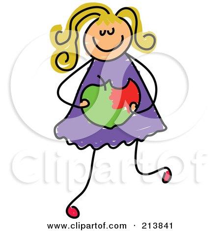 Royalty-Free (RF) Clipart Illustration of a Childs Sketch Of A Girl Holding A Bitten Apple by Prawny
