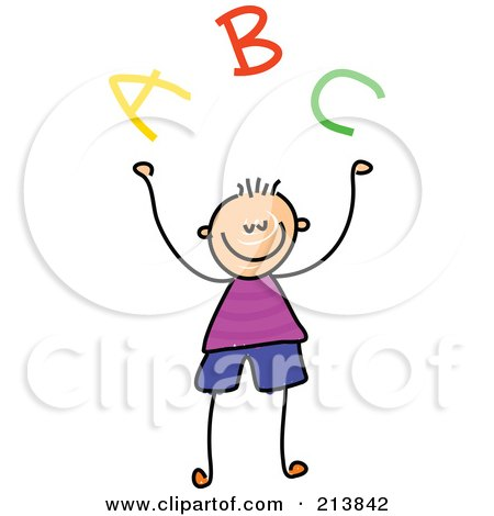 Royalty-Free (RF) Clipart Illustration of a Childs Sketch Of A Boy With ABC by Prawny
