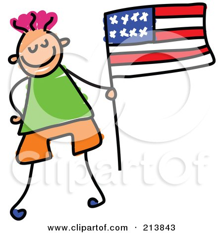 Royalty-Free (RF) Clipart Illustration of a Childs Sketch Of Little Boy With An American Flag by Prawny