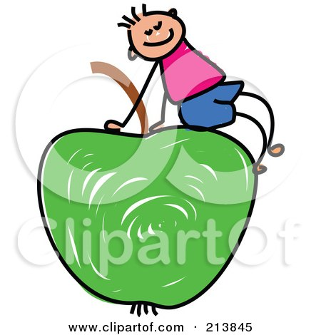 Royalty-Free (RF) Clipart Illustration of a Childs Sketch Of A Boy Sitting On A Green Apple by Prawny