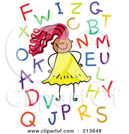 Royalty-Free (RF) Clipart Illustration of a Childs Sketch Of A Girl With Letters by Prawny