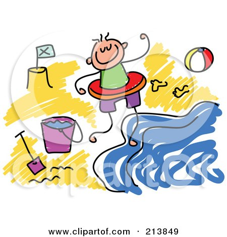 Royalty-Free (RF) Clipart Illustration of a Childs Sketch Of Childs Sketch Of A Boy On A Beach by Prawny