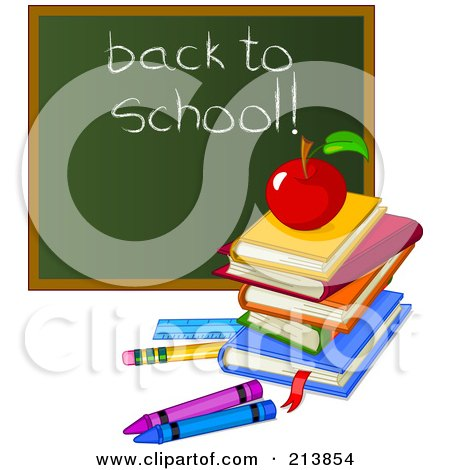 Royalty-Free (RF) Clipart Illustration of a Stack Of Books, Apple And Crayons By A Back To School Chalk Board by Pushkin