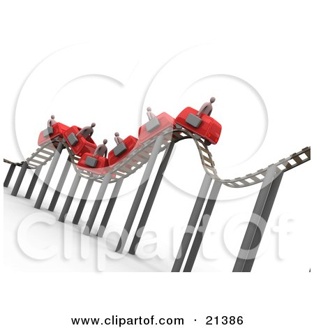 Clipart Illustration of a Bumpy Red Roller Coaster Transporting Businessmen With Briefcases by 3poD