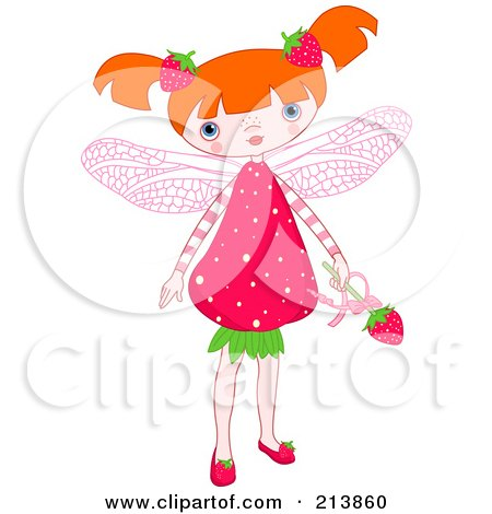 Royalty-Free (RF) Clipart Illustration of a Strawberry Fairy Girl by Pushkin
