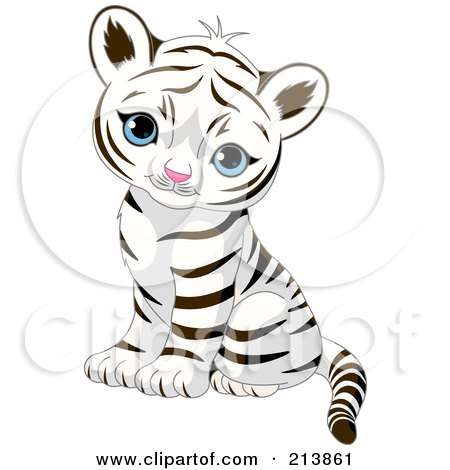 Royalty-Free (RF) Clipart Illustration of a Cute Baby Tiger Sitting And Looking Outwards by Pushkin