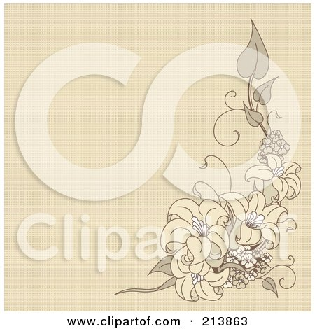 Royalty-Free (RF) Clipart Illustration of a Canvas Textured Background With Lilies by Pushkin