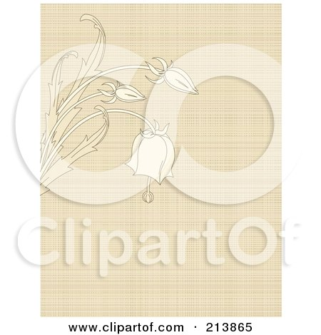 Royalty-Free (RF) Clipart Illustration of a Canvas Textured Background With Bell Flowers by Pushkin