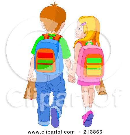 Royalty-Free (RF) Clipart Illustration of a School Boy And Girl Holding Hands And Walking by Pushkin