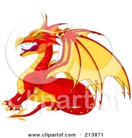 Fierce Red And Yellow Dragon In Profile Posters, Art Prints