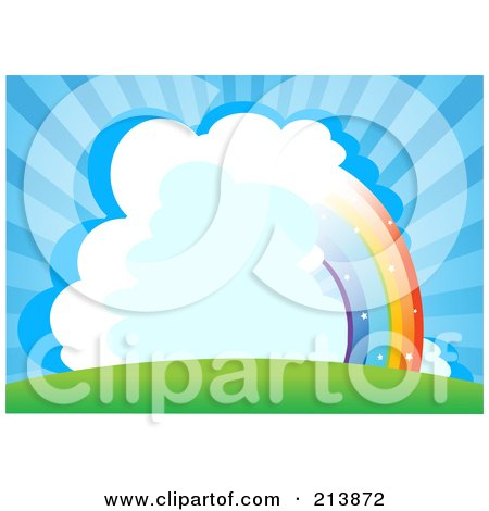 Royalty-Free (RF) Clipart Illustration of a Half Rainbow Through Clouds In A Bursting Blue Sky by Pushkin