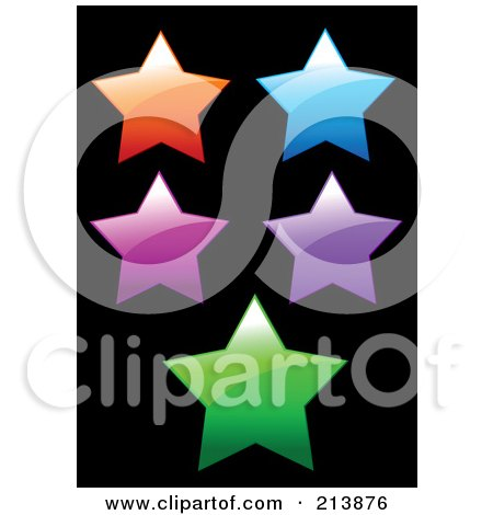 Royalty-Free (RF) Clipart Illustration of a Digital Collage Of Five Shiny Colorful Stars On Black by Pushkin
