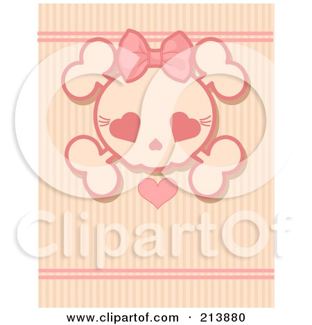 Royalty-Free (RF) Clipart Illustration of a Pink Girly Skull With A Heart Over Stripes by Pushkin