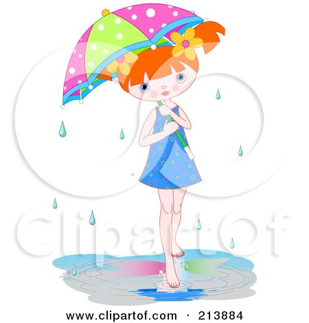 Royalty-Free (RF) Clipart Illustration of a Little Girl In A Puddle Under An Umbrella On A Rainy Day by Pushkin