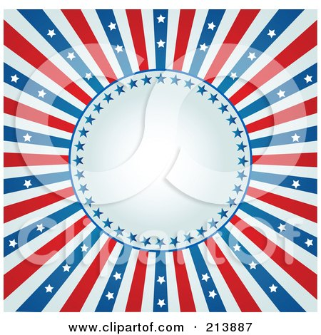Royalty-Free (RF) Clipart Illustration of a Fourth Of July Background With A Burst Of Stars And Stripes Around A Circle by Pushkin