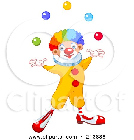 Royalty-Free (RF) Clipart Illustration of a Happy Clown With Rainbow Hair, Juggling by Pushkin