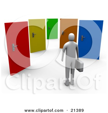 Clipart Illustration of an Uncertain Gray Person Standing Before Colorful Doors Of Opportunities by 3poD