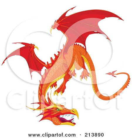 Royalty-Free (RF) Clipart Illustration of a Fierce Flying Orange Dragon by Pushkin