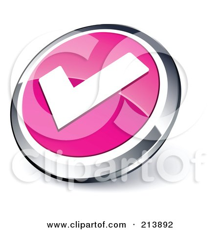 Royalty-Free (RF) Clipart Illustration of a Shiny Pink, White And Chrome Tick Mark App Button by beboy