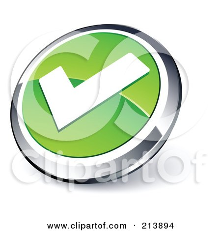 Royalty-Free (RF) Clipart Illustration of a Shiny Green, White And Chrome Tick Mark App Button by beboy