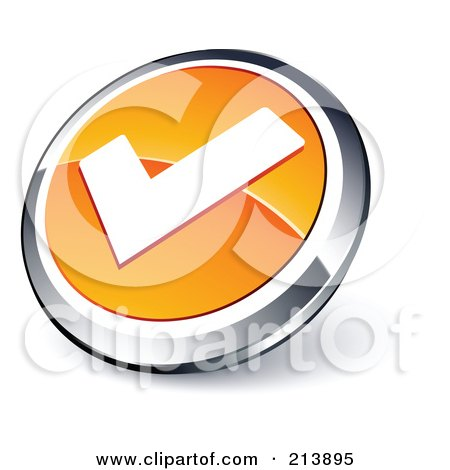 Royalty-Free (RF) Clipart Illustration of a Shiny Orange, White And Chrome Tick Mark App Button by beboy