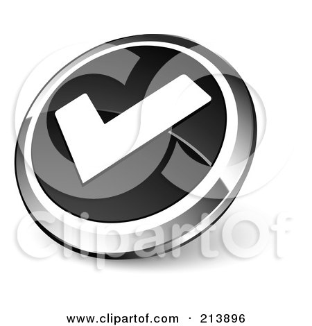 Royalty-Free (RF) Clipart Illustration of a Shiny Black, White And Chrome Tick Mark App Button by beboy