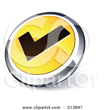 Royalty-Free (RF) Clipart Illustration of a Shiny Yellow, Black And Chrome Tick Mark App Button by beboy