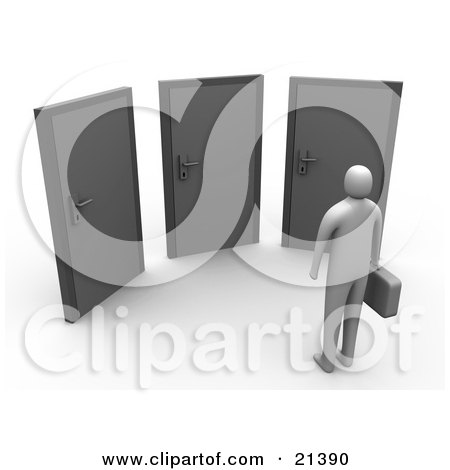 Clipart Illustration of a Gray Person Standing Before Three Doors, Symbolizing Opportunity And Uncertainty by 3poD