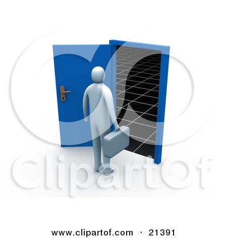 Clipart Illustration of a Blue Person Carrying A Briefcase And Standing Before An Open Blue Door Leading To The Unknown Of The Future by 3poD