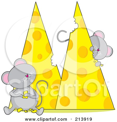 Royalty-Free (RF) Clipart Illustration of Two Hungry Mice Eating Cheese, In The Shape Of An M by Maria Bell