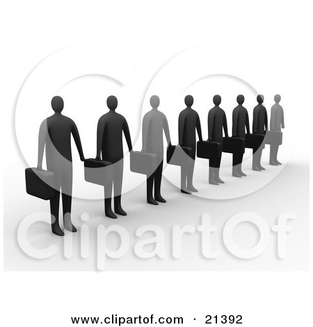 Clipart Illustration of a Line Of Dark Businessemen Carrying Briefcases And Waiting by 3poD