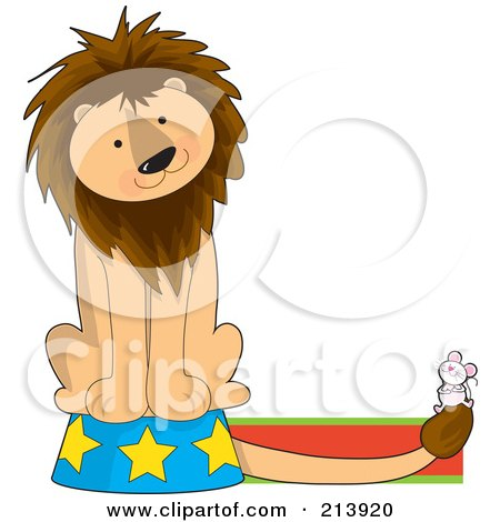 Royalty-Free (RF) Clipart Illustration of a Circus Lion On A Podium, Watching A Mouse, In The Shape Of A L by Maria Bell