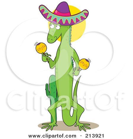 Royalty-Free (RF) Clipart Illustration of a Mexican Iguana Shaking Maracas, In The Shape Of An I by Maria Bell
