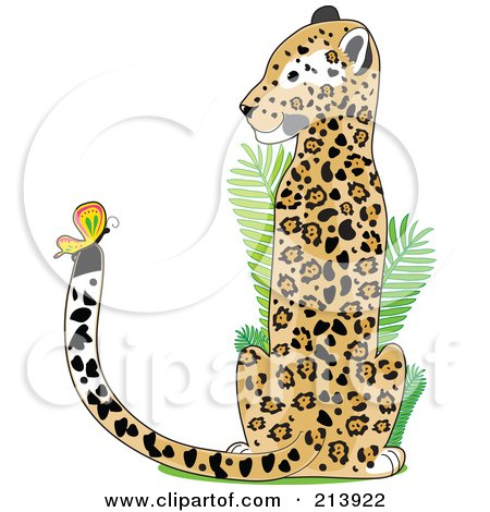 Royalty-Free (RF) Clipart Illustration of a Jaguar Watching A Butterfly On His Tail, In The Shape Of A J by Maria Bell