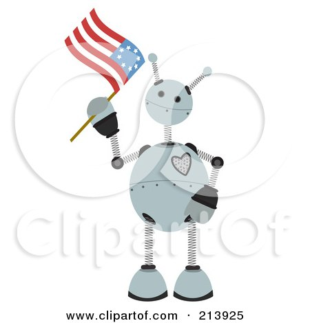 Royalty-Free (RF) Clipart Illustration of a Patriotic Springy Robot Waving An American Flag by mheld