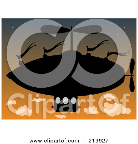 Royalty-Free (RF) Clipart Illustration of a Silhouetted Airship At Dusk by mheld