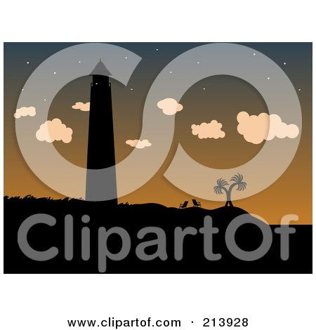 Royalty-Free (RF) Clip Art Illustration of a Silhouetted Lighthouse, Beach Chairs And Palm Trees Against A Dusk Sky by mheld