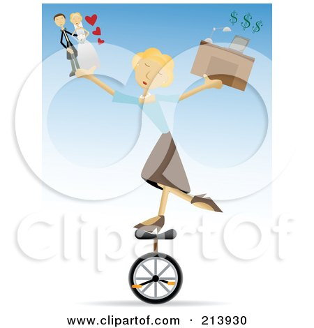 Royalty-Free (RF) Clipart Illustration of a Busy Blond Woman Riding A Unicycle And Juggling Life Responsibilities by mheld