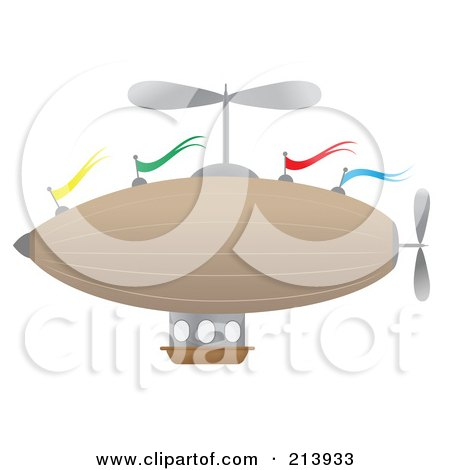 Royalty-Free (RF) Clipart Illustration of a Flying Airship With Colorful Flags by mheld
