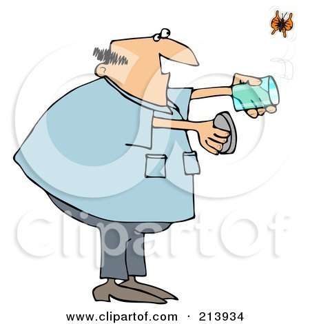 Royalty-Free (RF) Clipart Illustration of a Chubby Man Releasing A Butterfly From A Jar by djart