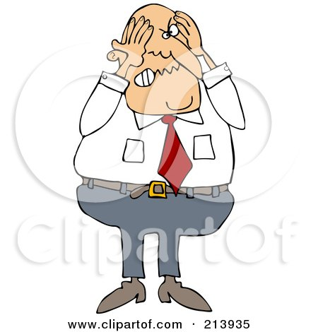 Royalty-Free (RF) Clipart Illustration of a Stressed Businessman Grabbing His Head by djart