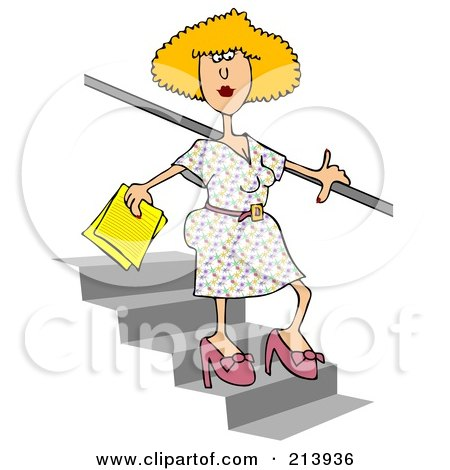 Royalty-Free (RF) Clipart Illustration of a Blond Woman Walking Down Stairs by djart
