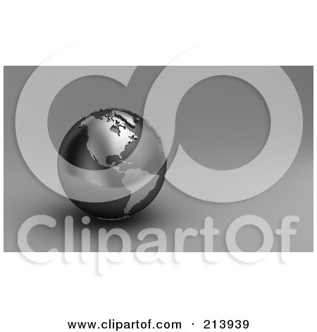 Royalty-Free (RF) Clipart Illustration of a 3d Black And Silver Globe Showing North And South America by stockillustrations
