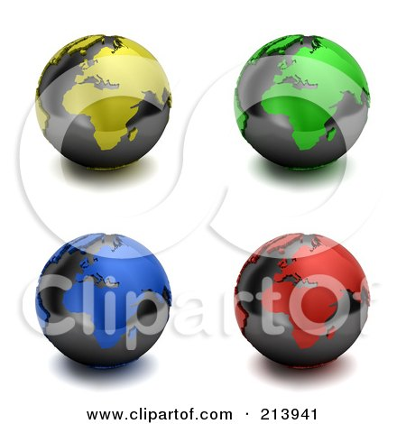 Royalty-Free (RF) Clipart Illustration of a Digital Collage Of 3d Colorful Europe And Africa Globes by stockillustrations