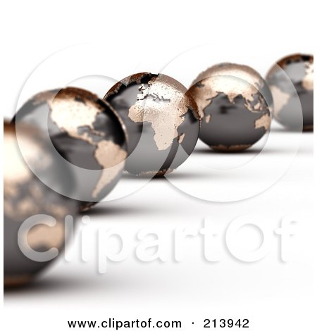 Royalty-Free (RF) Clipart Illustration of a Curving Line Of 3d World Globes With America And Africa In Focus by stockillustrations