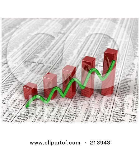Royalty-Free (RF) Clipart Illustration of a Green Line Over 3d Red Bar Graphs On Top Of A Daily Newspaper Showing Financial Statistics by stockillustrations