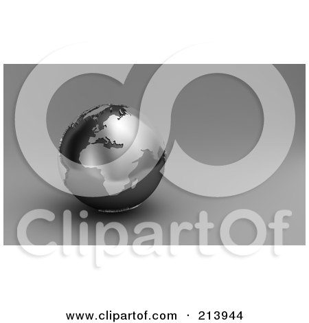 Royalty-Free (RF) Clipart Illustration of a 3d Black And Silver Globe Showing Europe And Africa by stockillustrations