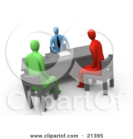 Clipart Illustration of a Red And A Green Person Seated In Chairs While Discussing Business With A Man In An Office by 3poD