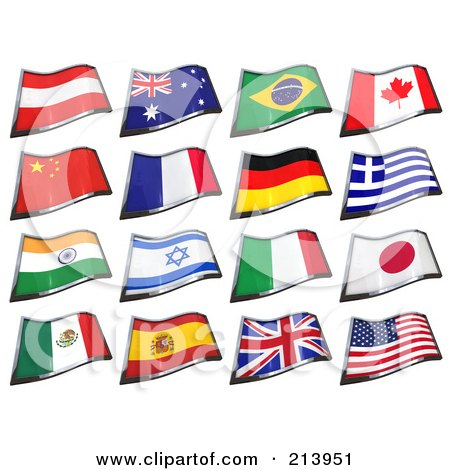Royalty-Free (RF) Clipart Illustration of a Digital Collage Of 16 3d Waving Country Flags by stockillustrations