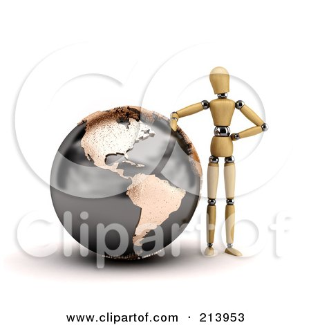 Royalty-Free (RF) Clipart Illustration of a 3d Wooden Mannequin Leaning Against A Globe Of North And South America by stockillustrations